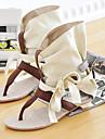 Pantofi pentru femei - Imitație de Piele - Toc Plat - Pantof cu Berete / T-Curea - Sandale - Birou & Carieră / Rochie - Negru / Bej