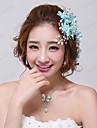Femei Fata cu Flori Cristal Aliaj Imitație de Perle Material Textil Diadema-Nuntă Ocazie specială Flori Ac de Păr 3 Piese