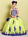 Rochie de bile lungime de flori fata rochie - tul fără mâneci gât bijuterii de lan ting bride