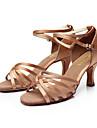 Pentru femei Pantofi Dans Latin / Sală Dans / Pantofi Salsa PU piele / Satin Sandale Cataramă Toc Personalizat Personalizabili Pantofi de dans Argintiu / Maro / Auriu