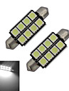 2pcs 150-170lm Festoon Lumini Decorative 8 LED-uri de margele SMD 5050 Alb Rece 12V