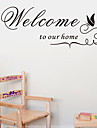Bienvenue dans notre maison citation stickers muraux decoratifs zooyoo8181 ADESIVO de parede vinyle amovible stickers muraux
