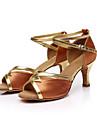 בגדי ריקוד נשים נעליים לטיניות / נעלי סלסה Paillette / סטן סנדלים אבזם / עניבת פרפר עקב מותאם מותאם אישית נעלי ריקוד אדום / חום / כחול רויאל / סוויד / EU36
