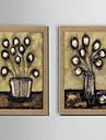 ulei pictura decor de flori pictate manual lenjerie naturale cu întins încadrată - set de 2