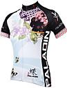 ILPALADINO Dam Kortärmad Cykeltröja - Blå Blommig / Botanisk Cykel Tröja, Snabb tork, UV-Resistent, Andningsfunktion Polyester
