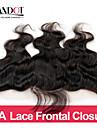 13 x 4 inch Noir / Noir Naturel (#1B) Dentelle frontale Ondulé Cheveux humains Fermeture Marron clair Dentelle Suisse 30g-80g grammeCap