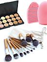 11pcs pinceaux de maquillage sourcil cosmetique fondation de kabuki kits + 15 couleurs palette de maquillage correcteur + outil de