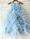 Prințesă Coloană / Teacă Lungime Podea Rochie Fete Flori - Organza Fără manșon Bijuterie cu Flori Eșarfă / Panglică de LAN TING BRIDE®