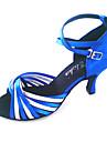 Pentru femei Pantofi Dans Latin / Sală Dans Sclipici Spumant / Satin Călcâi Toc Personalizat Personalizabili Pantofi de dans Albastru