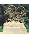 Vârfuri de Tort Personalizat Cuplu Clasic / Inimi Hârtie cărți de masă Nuntă / Aniversare / Petrecerea Bridal Shower GalbenTemă Florală /