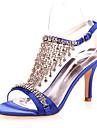 Pentru femei Pantofi Satin Primăvară / Vară Confortabili Tocuri Toc Stilat Rosu / Albastru / Cristal / Nuntă / Party & Seară