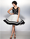 A-Line / Fit & Flare V Neck Knee Length Lace / Organza Color Block Prom / Formal Evening Dress with Lace by TS Couture®