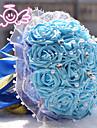 """Flori de Nuntă Rotund Trandafiri Buchete Nuntă Poliester 8.66""""(Approx.22cm)"""