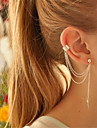 Pentru femei Franjuri Cercei cu Clip - Personalizat, Ciucure Alb / Auriu Pentru