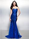 בתולת ים \ חצוצרה לב (סוויטהארט) שובל קורט נצנצים ערב רישמי שמלה עם נצנצים על ידי TS Couture®