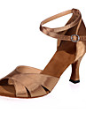 בגדי ריקוד נשים נעליים לטיניות סטן סנדלים עקב רחב ללא התאמה אישית נעלי ריקוד כסף / חום / מוזהב / בבית / הצגה / עור / אימון