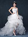 Haine Bal In Formă de Inimă Asimetric Dantelă Tulle Rochie de mireasă cu Mărgele Șifonat de Embroidered Bridal