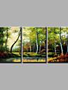 Pictat manual Peisaj / Peisaje Abstracte Modern Trei Panouri Canava Hang-pictate pictură în ulei For Pagina de decorare