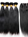 Cheveux Péruviens Droit Trame cheveux avec fermeture Tissages de cheveux humains Noir