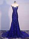 Trompetă / Sirenă In Formă de Inimă Mătura / Trenă Tulle Paiete Seară Formală Rochie cu Detalii Cristal de TS Couture®