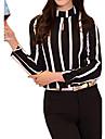 Femei Stand Bluză Elegant Simplu(ă),Dungi Manșon Lung Vară-Negru Mediu Bumbac