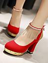 Pentru femei Pantofi Imitație de Piele Primăvară / Vară Toc Îndesat Franjuri Negru / Rosu / Albastru / Nuntă