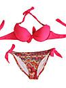 Femei Bikini Femei Cu Susținere Floral Sutiene cu Întăritură / Push-up / Sutiene cu Bureți Nailon / Spandex