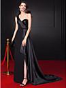 Teacă / coloană un umăr podea lungime șifon stretch satin rochie de seară sequined cu beading de ts couture®