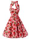 Femei Rochie Vintage Linie A Floral Halter Lungime Genunchi Bumbac