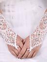 ستان مطاطي / حرير طول الكوع قفاز قفازات العروس مع عقدة
