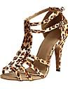 Pentru femei Pantofi Dans Latin / Pantofi Salsa / Pantofi de Samba Satin Sandale / Călcâi Cataramă Toc Personalizat Personalizabili