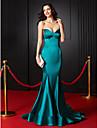 Trompetă / Sirenă In Formă de Inimă Trenă Court Satin Stretch Seară Formală Rochie cu Pliuri de TS Couture®