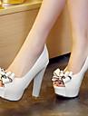 Pentru femei Pantofi Microfibre Primăvară / Vară Toc Îndesat / Platformă Funde Alb / Negru / Rosu / Rochie