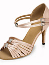 Kadın\'s Saten Latin Dans Ayakkabıları / Salsa Ayakkabıları Taşlı / Toka / Fermuar Sandaletler / Topuklular Kişiye Özel Kişiselleştirilmiş Siyah / Kırmızı / Pembe / İç Mekan / Performans / Egzersiz