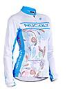 Nuckily Dame Langærmet Cykeltrøje - Blå Blomster / botanik Cykel Trøje Toppe Vindtæt Åndbart Anatomisk design Sport Polyester Bjerg Cykling Vej Cykling Tøj / Elastisk / Avansert / Avansert