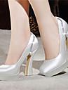 Pentru femei Pantofi Satin Primăvară / Vară Toc Îndesat / Platformă Cristal Alb / Rosu / Maro deschis / Nuntă / Party & Seară
