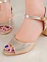 Pentru femei Pantofi Imitație de Piele Vară Pantof cu Berete Toc Îndesat Negru / Argintiu / Auriu / Party & Seară / Party & Seară / Blocați sandale pentru toc