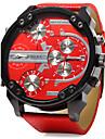 Bărbați Ceas Militar  Quartz Calendar Zone Triple De Timp Zone Duale de Timp  Piele Bandă Lux Cool Negru Albastru Roșu