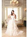 A-line drăguț instanță tren rochie de mireasa organza cu aplicatii beading de lan ting bride®