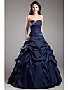 볼 드레스 끈없는 스타일 바닥 길이 태피터 포멀 이브닝 드레스 와 비즈 픽 업 스커트 으로 TS Couture®