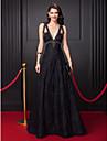 Linia -A Gât V Lungime Podea Dantelă Bal Seară Formală Rochie cu Mărgele de TS Couture®