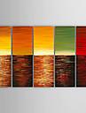 HANDMÅLAD Landskap Horisontell, Moderna Duk Hang målad oljemålning Hem-dekoration Fem paneler