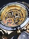 WINNER Bărbați Ceas de Mână / ceas mecanic Rezistent la Apă / Gravură scobită / Luminos Oțel inoxidabil Bandă Lux / Vintage Auriu / Mecanism automat / tachymeter