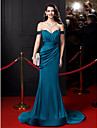 Mermaid / Trumpet Off Shoulder V-Wire Court Train Satin Chiffon Formal Evening Dress with Draping Sash / Ribbon Ruched Side Draping by TS