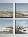HANDMÅLAD Landskap Fyrkantig, Europeisk Stil Duk Hang målad oljemålning Hem-dekoration En panel