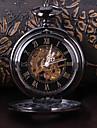 Bărbați Mecanism automat ceas mecanic Ceas de buzunar Gravură scobită Aliaj Bandă Lux Negru