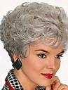 Syntetiskt hår peruker Lockigt Pixie-frisyr Med lugg Karneval peruk Halloween Paryk Korta Silver