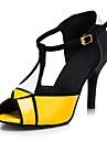 Pentru femei Pantofi Dans Latin / Sală Dans Imitație de Piele Sandale Cataramă Toc Personalizat Personalizabili Pantofi de dans Galben
