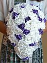 """Flori de Nuntă Cascadă Trandafiri Buchete Nuntă Petrecere / Seară Poliester Satin Organza Mărgea Ștras 9.84""""(Approx.25cm)"""