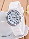 Geneva Pentru femei Quartz Ceas de Mână imitație de diamant Ceas Casual Silicon Bandă Sclipici Negru Alb Albastru Verde Pink
